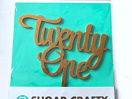 Script Twenty One Gold Cake Topper