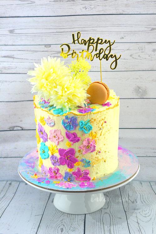 Spatula Painted Buttercream Flowers Cake