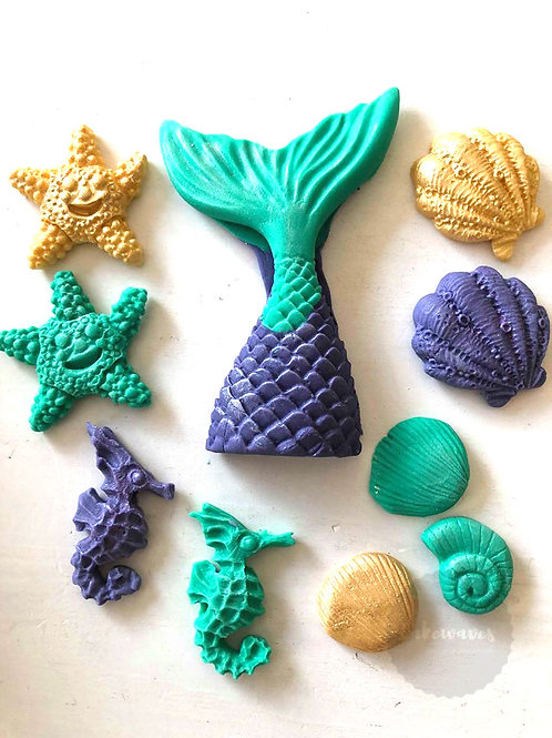 Mermaid Cake topper 10 piece set Teal