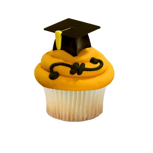 3D Graduation Hat Cupcake Picks - 4pcs