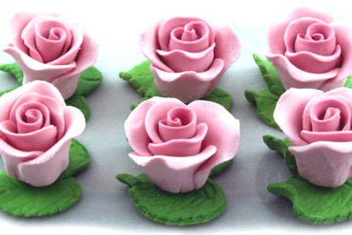 Mauve Cupcake Roses with Leaves - 6pc Hangsell