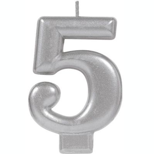 Metalic Silver Birthday Candle - Five