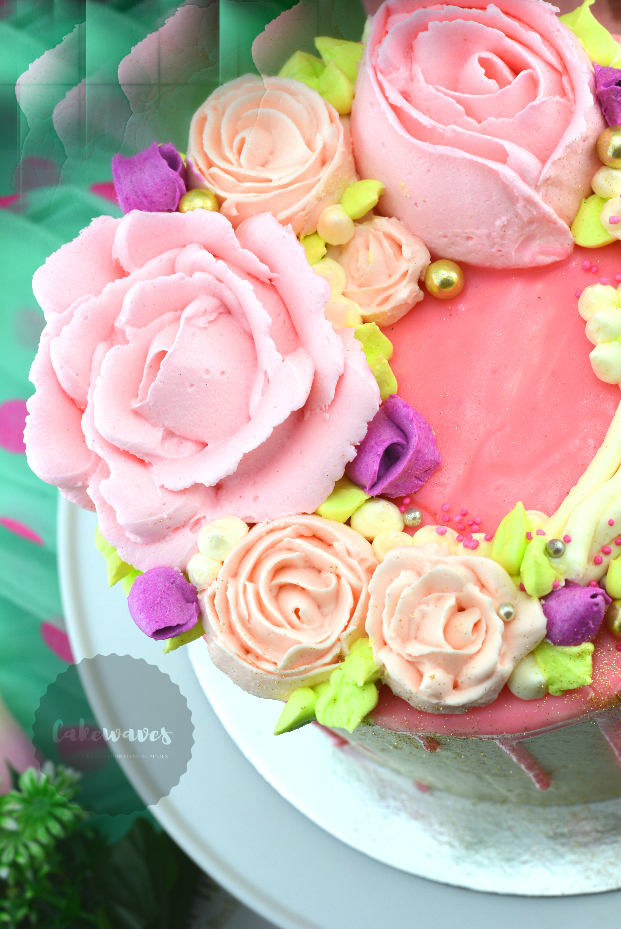 Buttercream Flowers Drip Cake26