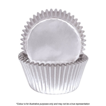 Foil Cupcake Cases / Baking Cups 72pc - Silver