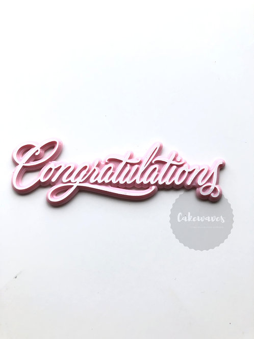 Congratulations Cake Topper Script - Pink