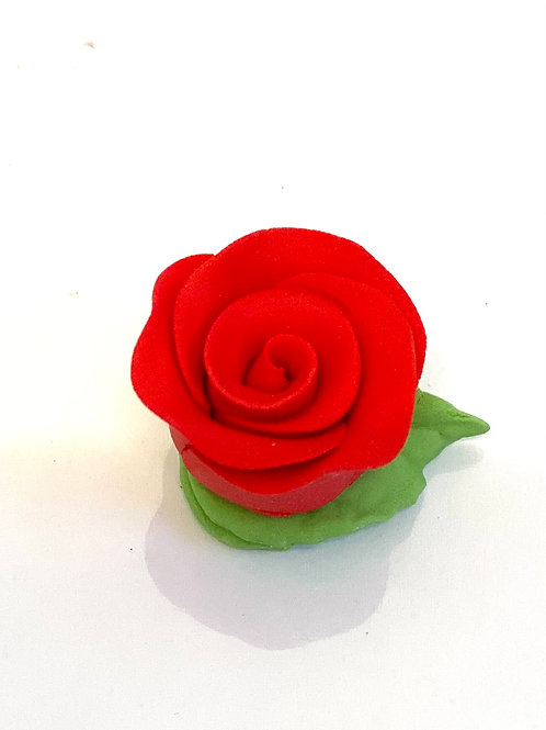 Cupcake Rose with Leaves - Red