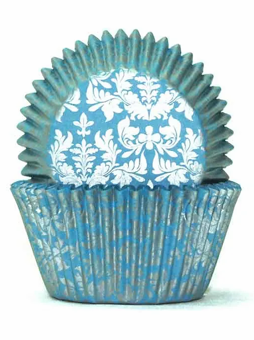 Cupcake Cases / Baking Cups Standard High Tea 100pc - Blue / Gold