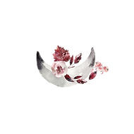 An upturned crescent moon with burgundy and pink flowers and leaves