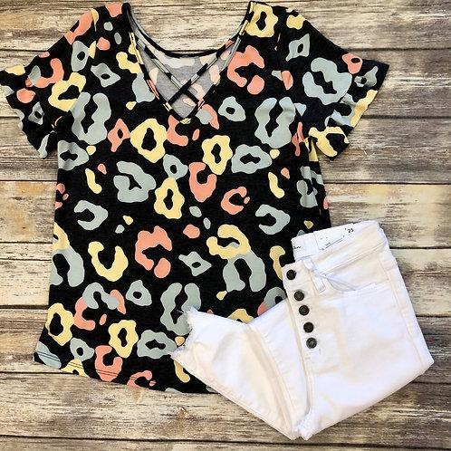 Pastel leopard blouse