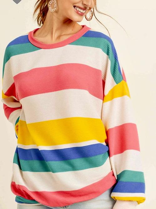 Zuri pleated, stripe top