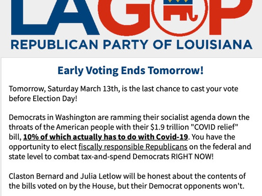 Early Voting Ends Tomorrow!