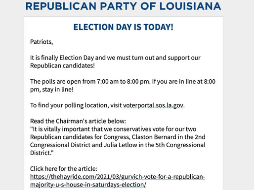 ELECTION DAY IS TODAY!