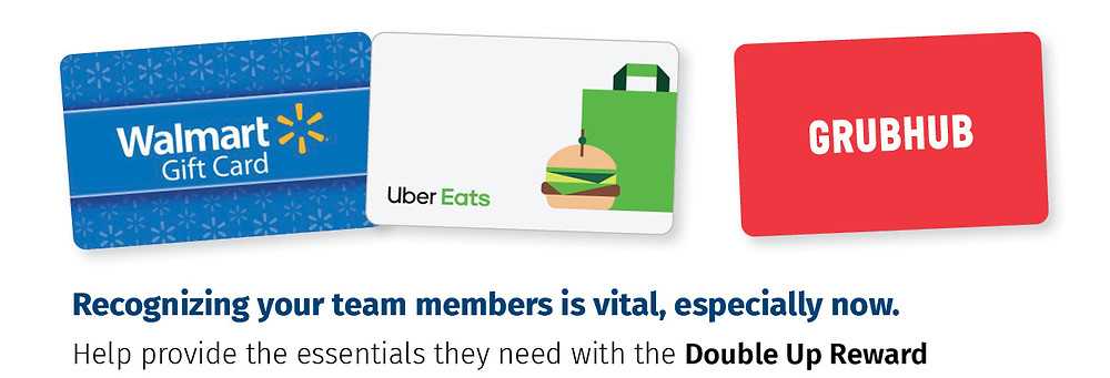 Gift Cards for employees are a redemption option with the double up reward