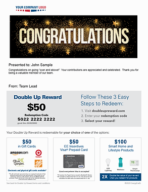 Double Up Reward example showing redemption options that include gift cards for employees, Visa® Prepaid cards, and smart home and lifestyle products