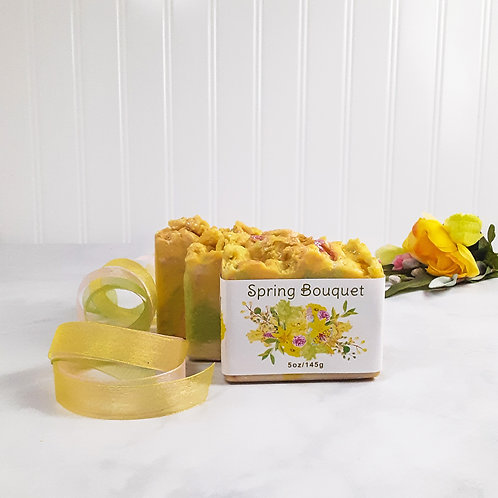 front label view yellow spring bouquet soap with yellow, green pink ribbons, yellow flowers