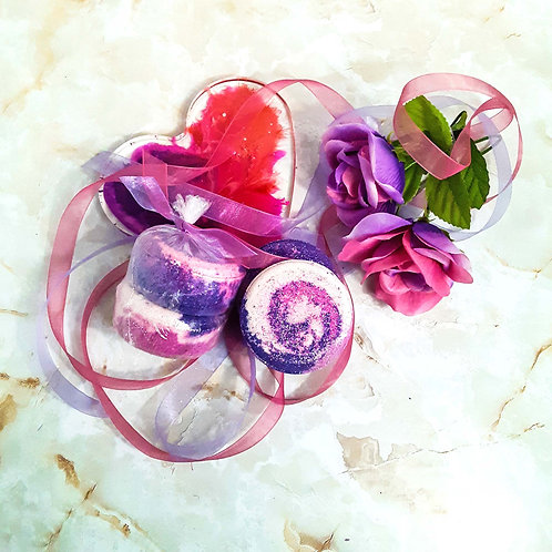 Amethyst rose bath bomb wrapped, and heart, ribbons, roses