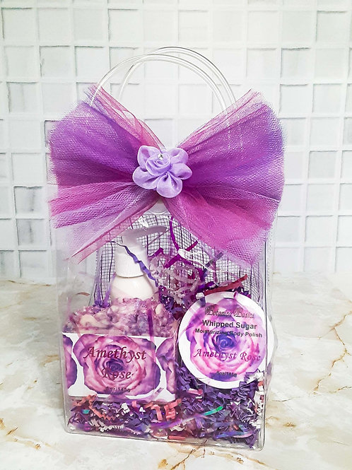 Amethyst rose crystal bag set with violet and pink organza bow