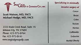 Surgical Group of JC Business Card 2019.