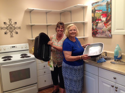 July 4 2017 - Doing the dishes!  Host Linda Fielding and Rita Golter cleaning up