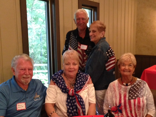 July 4 2017 - Party goers Jerry and Colleen Schmitt, Keith and Mae Mohr (standing) and Judy Reuter