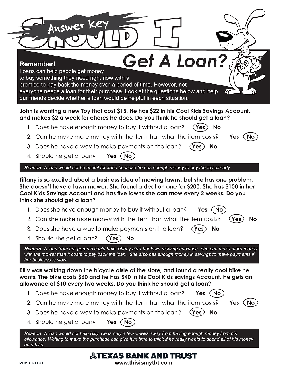 Should I Get A Loan Answer Key
