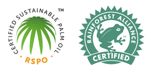 RSPO logo and Rainforest Alliance logo. Logos to look for on products with sustainable palm oil