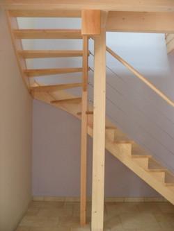 Escalier 1/4 tournant en frêne