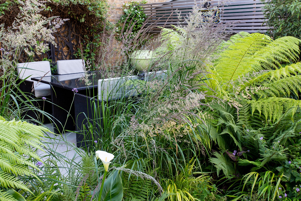 Garden dining area viewed through the ornamental grasses