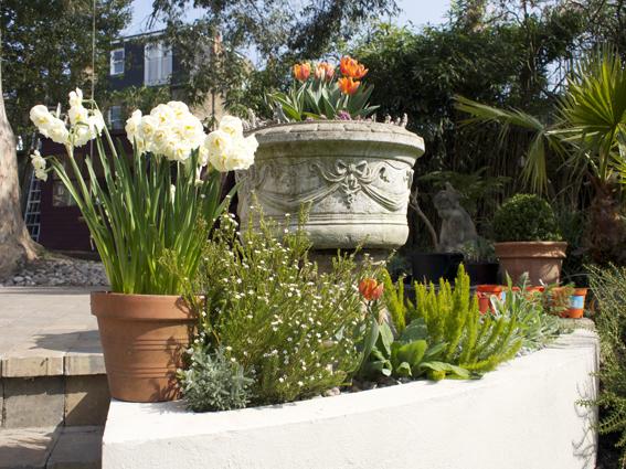 Antique stone urns