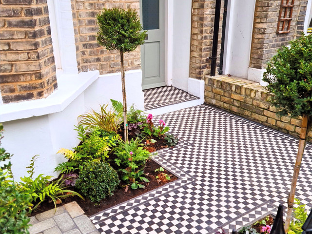 A Classic London Front Garden with Contemporary Touches and Victorian Tiling