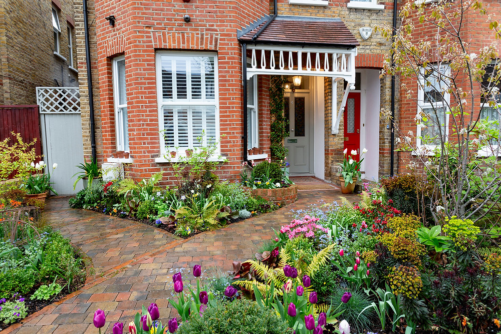 Front garden with brick path