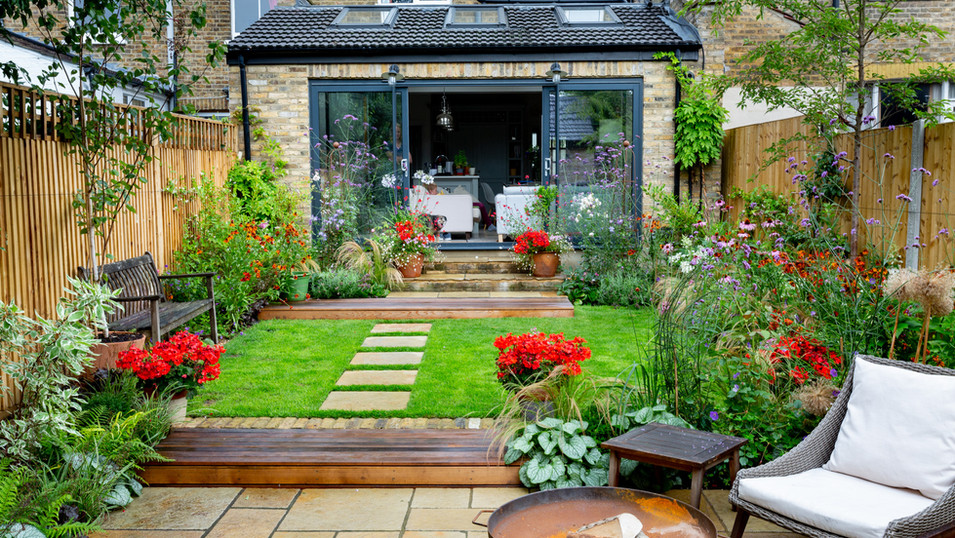 Family Garden with Cottage Garden Planting and Large Dining Terrace