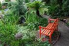 Orange bench overlooking the pond