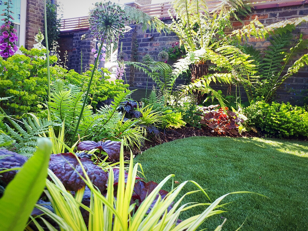 Artificial lawn with lush surroundings