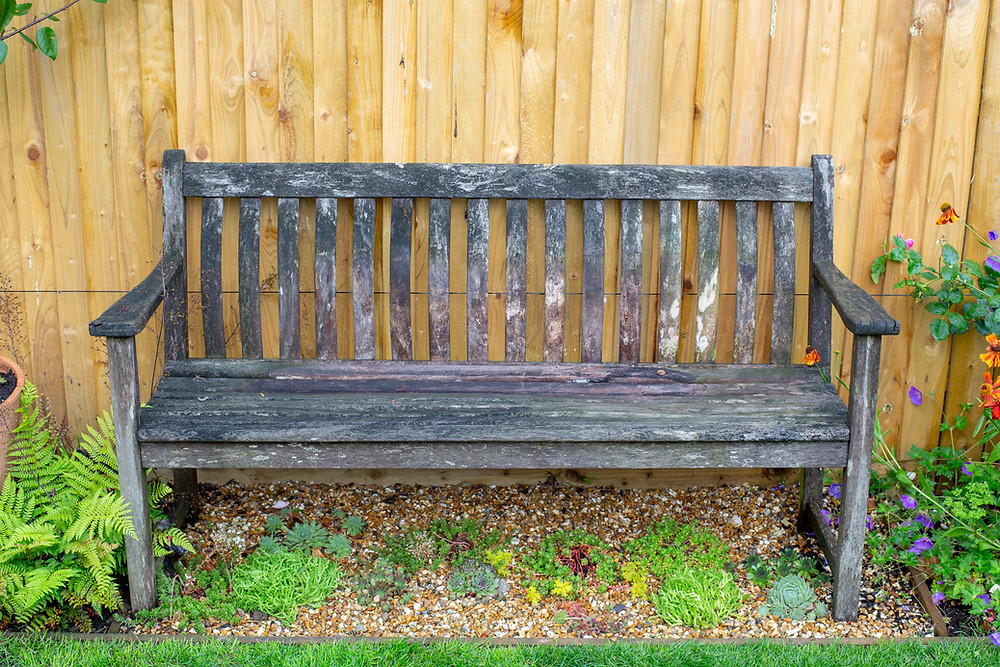 Weathered wooden bench planted over a gravel garden enhances the cottage garden theme