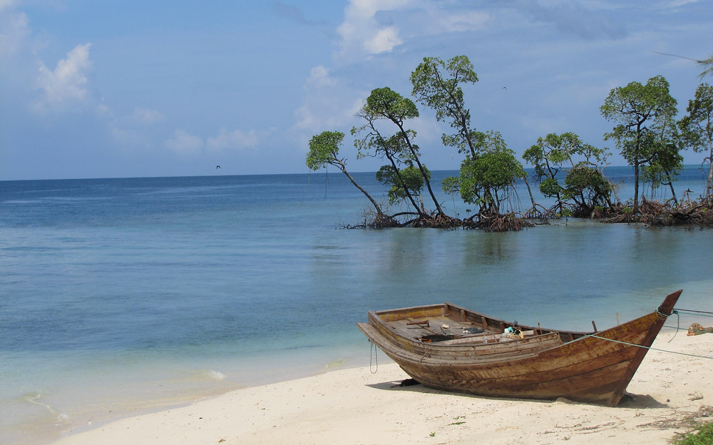 A wooden boat adjacent to the beach