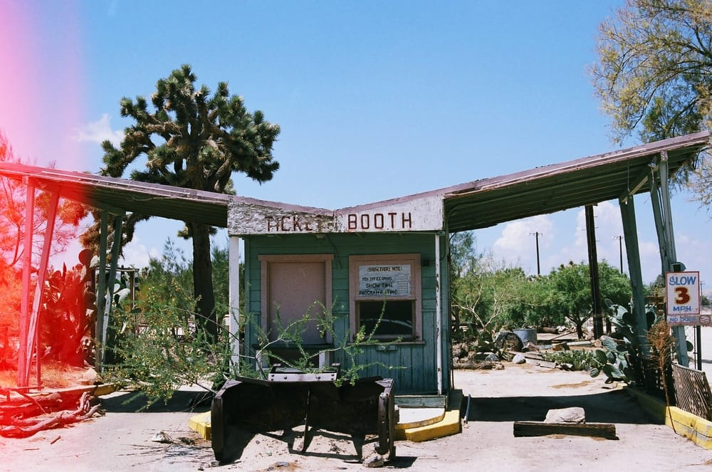 old ticket booth in the desert