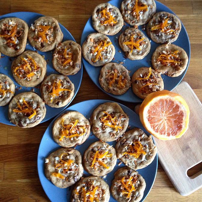 Chocolate Chip Cookies with Toasted Coconut and Candied Grapefruit