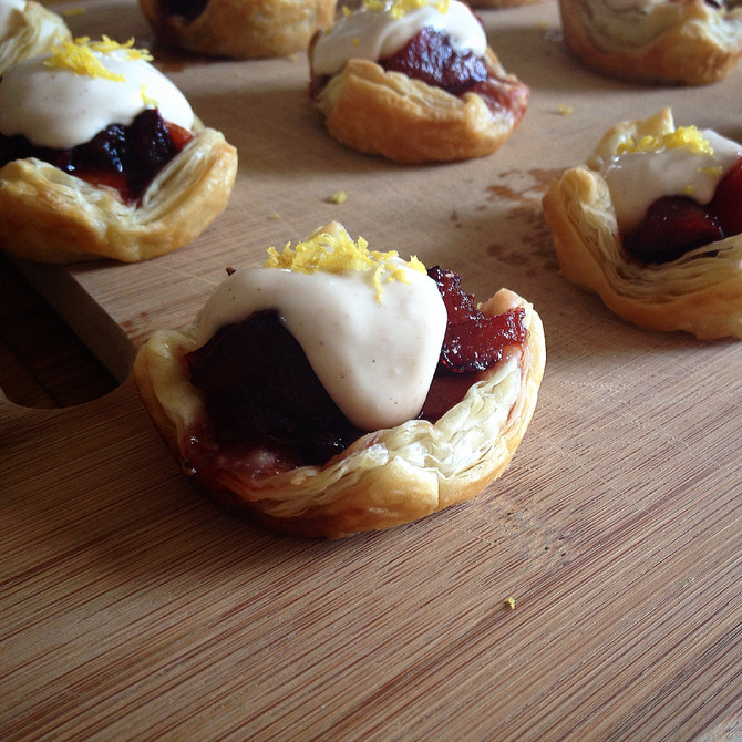 Plum & Perimmon Tarts with Sweet Vanilla Crème Fraîche and Lemon Zest