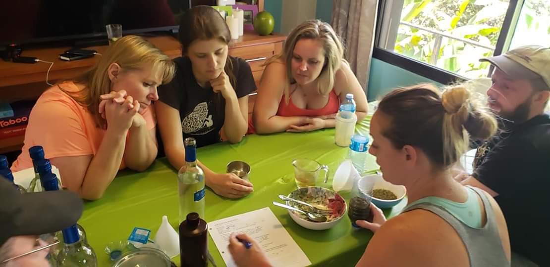 alida and the girls around the herbal ta