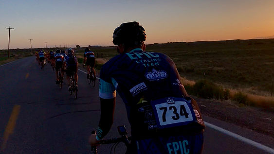 An EPIC Cycling Team rider rolling out of Delta, UT at the start of the Hunstman 140 in 2018. Team Jarem and EPIC Cycling Team participates at the Huntsman 140 to raise money for cancer research.