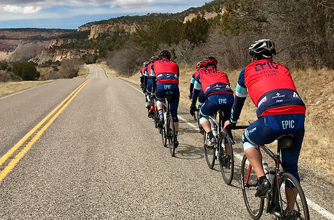 EPIC Cycling Team members ride through Zion National Park in EPIC's 2018 cycling kit. The Biofit jersey, Elite bibs and Race vests are custom-made in Italy by EPIC's partner, Utah-based DNA Cycling. EPIC Cycling Team organizes road and mountain bike group rides for Utah team members based in Salt Lake and Utah Counties, and virtual cycling at Zwift.