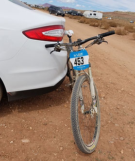 EPIC Cycling Team member's mountain bike ready for load-up aftern competing at the Red Rock Rampage in St. George, UT, an event in the I-CUP MTB Series. EPIC Cycling Team organizes road and mountain bike group rides for Utah team members based in Salt Lake and Utah Counties, and virtual cycling at Zwift.