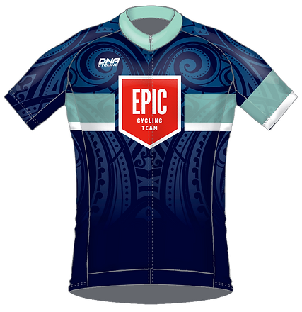 Front view of 2018 Cycling Kit Jersey Design, DNA Cycling Biofit, for EPIC Cycling Team. Epic organizes road and mountain bike group rides for Utah team members based in Salt Lake and Utah Counties, and virtual cycling at Zwift.