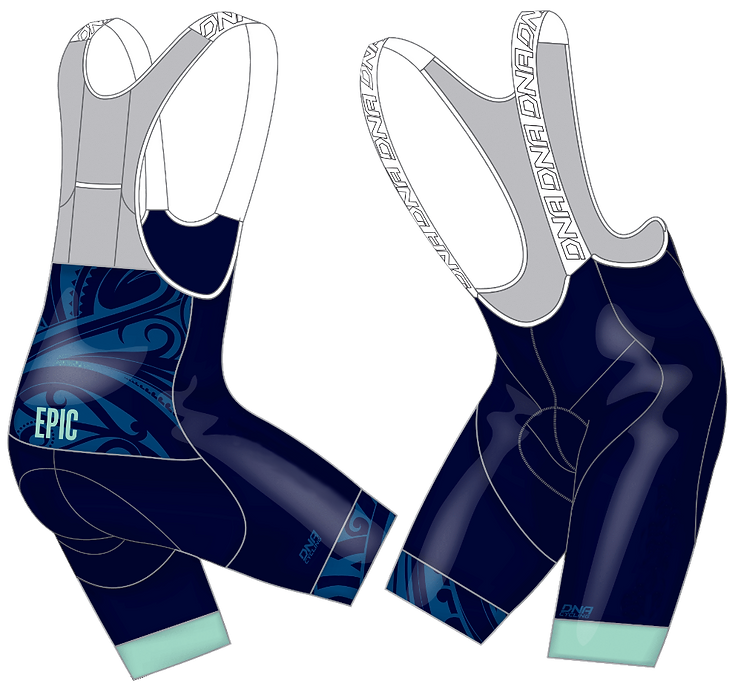 Front and back views of the 2018 Cycling Kit Bibs Design, DNA Cycling Elite Bibs, for EPIC Cycling Team. Epic organizes road and mountain bike group rides for Utah team members based in Salt Lake and Utah Counties, and virtual cycling at Zwift.