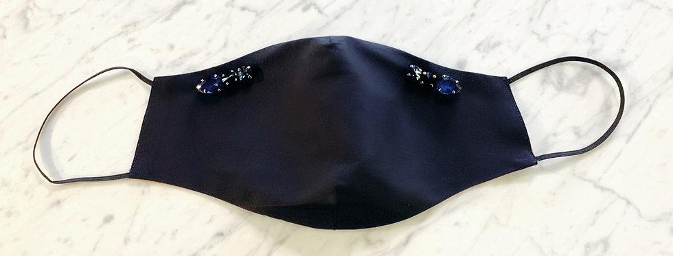 Face Mask Blue Black Crystal Stones