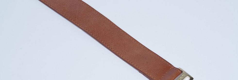 Leather Belt Studs Brown