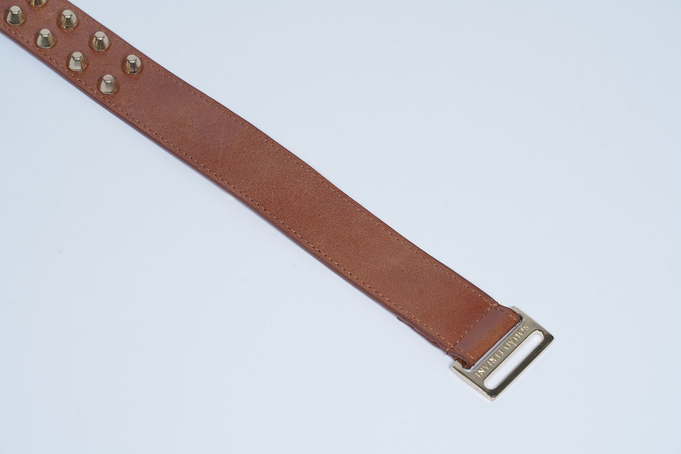 Leather Belt Studs Brown