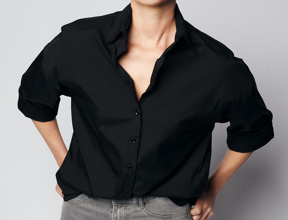 Loose Shirt Black Cotton