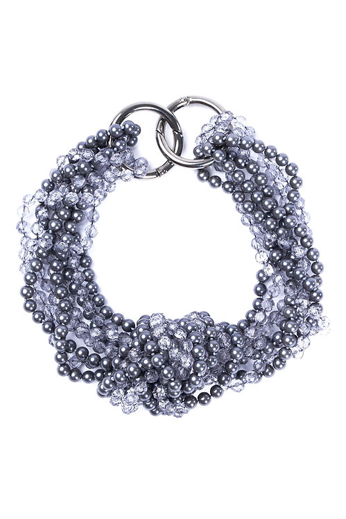 Statement Necklace Grey/Blue